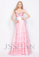 11G025 Strapless Sweetheart Rhinestoned Ruching Luxury Unique Brilliant A-Line Pink Quinceanera Dress Ball Gown Dresses