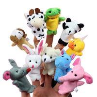 10x Cartoon Biological Animal Finger Puppet Plush Toys Child Baby Favor Dolls K5
