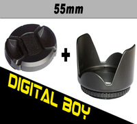 (2pcs/set)1 pcs 55mm Flower Petal Lens Hood +Snap-on Front Lens Cap 55mm Cover For Canon Nikon Sony 18-55 55-200 55-250