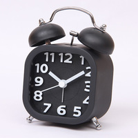 Contracted Candy Stereoscopic Digital Clock Retro Twin Bell Alarm Clocks Desktop Clock Square-shaped Alarm Clocks Free Shipping