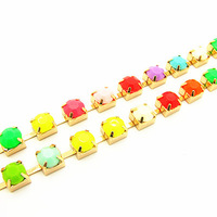 3yard/lotWholesale Colorful Acrylic Rhinestone Multi-functional Jewelry Link Chain for Clothes&Waist Chain for Bracelet&Necklace
