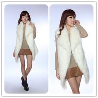 KV001 Autumn Winter Fashion White Faux Fur Vest  Turn-down Collar With Belt For Ladies' Coats 2013 Free Sale