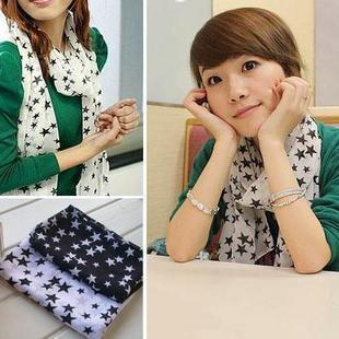 Fashion trend hot-selling five-pointed star long design silk scarf material chiffon silk scarf