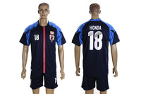 2012 2013 Japan home blue soccer jerseys #18 Honda designer football uniforms set branded sports t-shirts for men Sports Suit