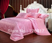 Free DHL Shipping ! Beautiful Bright Pink Tencel Material 4PC Home Textile Silk Bedding Set Covers