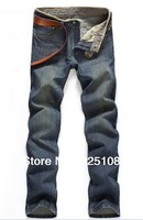 Free Shipping 89120 Denim Leather Sweatpants Men Fitness Pant Italian Fashion Brand Jeans Casual 2013 Korean Style Trousers