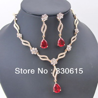 2013 hot sale Free Shipping Gift Wholesales 18KGP Zircon afican Crystal water drop Pendant Lover fine fashion 2pcs Jewelry Set