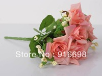 Free Shipping Retail (4pcs/lot) 11inch 6 Heads Artificial Silk Curly Edge Rose Flower Bouquet  for Wedding home Decoration