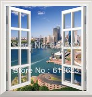 DIY window scenery outside fake windows sticker 95*100cm sofa background bedroom pvc environmental wall sticker removable hj-2