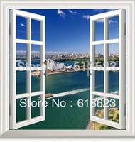 DIY window scenery outside fake windows sticker 95*100cm sofa background bedroom pvc environmental wall sticker removable hj-1
