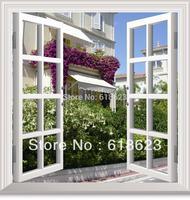 DIY window scenery outside fake windows sticker 95*100cm sofa background bedroom pvc environmental wall sticker removable ds-3