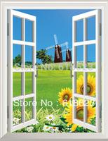 HD Pattern  fake windows sticker 75*100cm sofa background  pvc  art mural home decor Removable wall sticker  ty-3