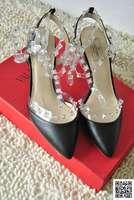 2103 New Design Brand Warren Vtino tipped Crystal rhinestone transparent new rivet high heel shoes Geniune leather women sandals