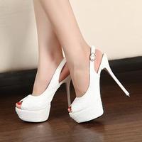 15cm white ultra high heels platform open toe female sandals formal dress  wedding  bridal shoes