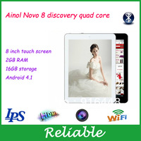 8 inch Ainol Novo 8 discovery quad core bluetooth tablet pc IPS Capacitive android 4.1 dual camera 1.5GHz 2GB DDR3/16GB