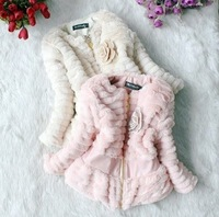 ZX114,free shipping,New arrival children thick jacket Korean girl's woollen coat autumn/winter kid's wear Wholesale and Retail