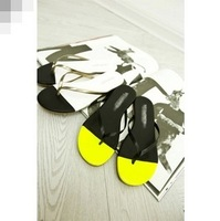 Small fashion spring and summer color block flat flip flops flip slippers shoes