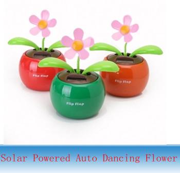 New Flip Flap Solar Powered Auto Dancing Swing Flower Orange Flowerpot Swing Toy for 50pcs by DHL