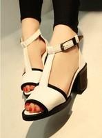 2013 summer fashion thick heel shoes t belt metal buckle open toe shoe shoes