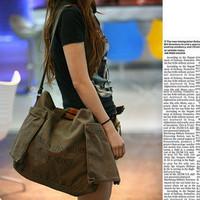 Nice Fashion Khaki Ladies Girls Women's Canvas Clutch Handbag Shoulder Bag Purse, Free Shipping + Wholesale!