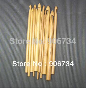 New Arrival 12pcs/Set 12 Size  3MM-10MM Smooth Carbonized Bamboo Crochet Hook Free Shipping