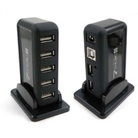 1PC Black New 7 Port USB 2.0 High Speed HUB + AC Power Adapter For Laptop, Free Shipping