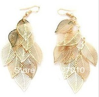 Min order is $10(mix order) Fashion Gold&silverCutout Hollow Multi-layer Leaves Metal Earrings Drop women Dangle earrings EH249