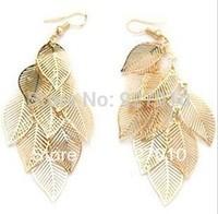 Min order is $10(mix order) Fashion Gold&silverCutout Hollow Multi-layer Leaves Metal Earrings Drop women Dangle earrings