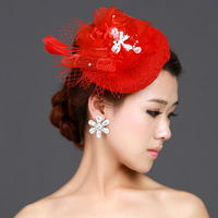 Red paillette yarn the wedding bridal hair accessory hairpin small fedoras feather rhinestone wedding dress formal dress hair
