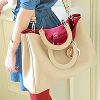 Most Popular! Fashion Beige Ladies Girls Women's Handbag Totes Shoulder Bag, Free Shipping + Wholesale!