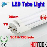 Wholesale G13 3014 T8 LED Tube Light 14W 900mm 90CM 3014smd 120leds Lamp 85V~265V CE RoHS x 10 PCS -- ship via express