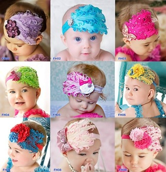 23 Styles and Colors Baby Girl&Boy Feather Headband Baby Fashion Hair Band Colorful Head Accessories(10 pcs/lot) Free Shipping