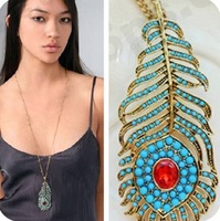 Min. order $9 Vintage bohemia blue peacock feather long necklace  XL196