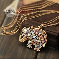 Min. order $9 Crystal vintage cutout circleof lctcause long design necklace XL025