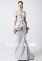 Simple Silver V-Neck Mermaid Bridal Wedding Dresses Wedding Attire Dress Pageant  Dress Custom Size 2-6-10 12-20 JLW528121