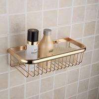 Copper titanium shelf gold plated rectangular bathroom accessories gold bathroom shelf basket(L:30cm)