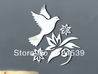Free shipping!Wall stickers 3D decoration supplies acrylic  mirror wall stickers lucky dove 3d relief wall stickers