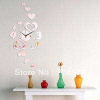 2012 3d wall clocks Home decoration diy crystal mirror wall white clock antique children's wall art clock