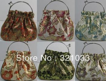Wholesale 5 pcs Brocade Metal Handle Bags Snap Closure Tote Evening Purse G806