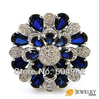 Оптовая Мода Fine Jewelry Женщины 7ct сапфир 0,925 стерлингового серебра Размер 6 7 8 Бесплатная доставка