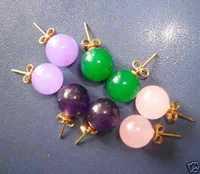 Pretty 2 Purple& green&PINK jade earring Fashion jewelry
