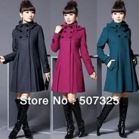 Fashion Women Long Coat Trend Jacket Dress Ladies Warm Down Parkas Overcoat Outwear, 5Sizes/4Colors To Pick, Factory Price