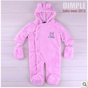 Long-sleeve baby romper pack climb a newborn baby clothes body creeper coral fleece spring  autumn girl baby new born clothing