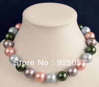 "8MM MULTICOLOR SOUTH SEA SHELL PEARL NECKLACE 18 ""XC82Fashion jewelry"