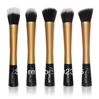 Free Shipping 5 Pieces/lot New Professional SixPlus Powder Blush Foundation Brush Makeup Tool  Cosmetic w/ Gold Handle