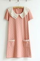 2013 summer polka dot lace peter pan collar 100% cotton loose one-piece dress baby dress