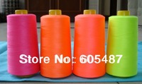 Free shipping 100% polyester embroidery neon color sewing thread fluorescent thread overlock thread 5000Y/pcs 2pcs/lot
