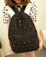 Bags 2013 women's handbag fashion rivet canvas backpack vintage nails student school bag