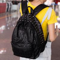 Bags 2013 women's handbag backpack preppy style skull backpack school bag vintage rivet bag