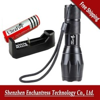 Free Shipping !UltraFire 1600LM CREE XM-L T6 5 Mode LED Flashlight Adjustable Torch (18650/3*AAA)+18650 4000 mah battery+charger